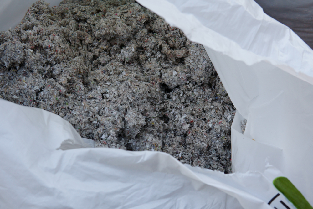 Blow-in insulation pile